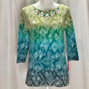 NWT Ruby Rd Ombré Embellished Top-FINAL Markdown